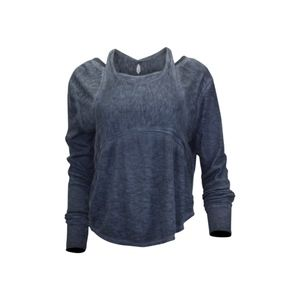 Free People Zenith High-Low Long-Sleeve Top Navy